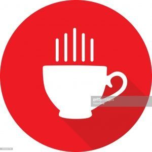 Vector illustration of a round red coffee cup icon.